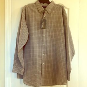 Roundtree & Yorke Luxury Cotton Tan Plaid Shirt XL